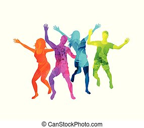 Happy Active Jumping People