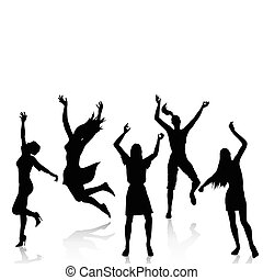Vector silhouettes of happy woman