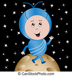Happy Alien in Outer Space Cartoon Character