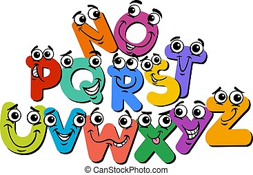 happy alphabet letter characters cartoon illustration