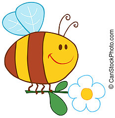Happy Bee Flying With Flower