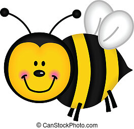 Image representing a happy bee, isolated on white, vector design.