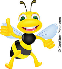 Vector illustration of happy bee with thumb up