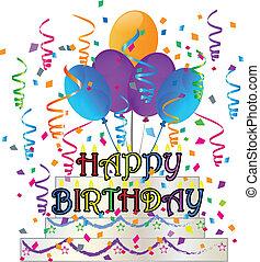 Happy Birthday cake with confetti