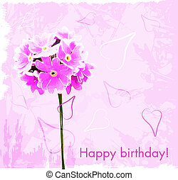 happy birthday card with pink flowers