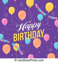 happy birthday celebration card with party balloons