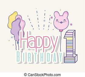happy birthday celebration with balloons decoration