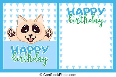 happy birthday greeting card with kawaii doodle dog, cute cartoon drawing animal, editable vector illustration for kids decoration, poster, banner