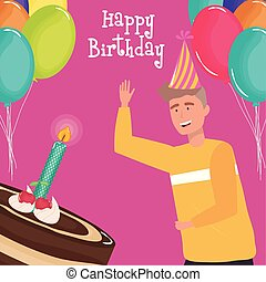 happy birthday, man with cake and candle balloons celebration party event decoration