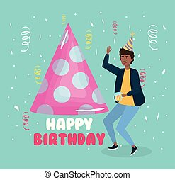 happy birthday, man with party hat beer confetti celebration event decoration