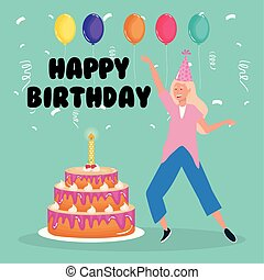 happy birthday, woman dancing with cake and balloons celebration party event decoration