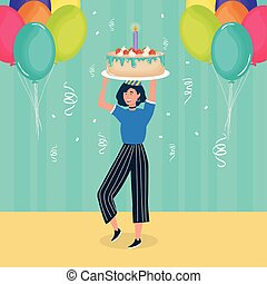 happy birthday, woman with cake balloons confetti celebration party event decoration