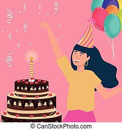 happy birthday, woman with chocolate cake and balloons celebration party event decoration