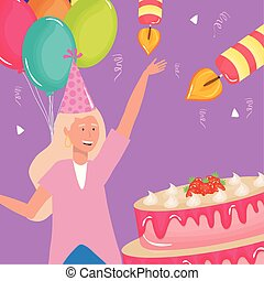 happy birthday, woman with strawberries cake cream balloons celebration party event decoration
