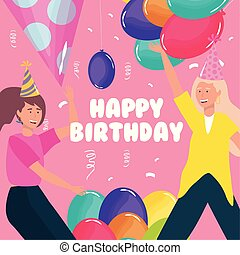 happy birthday, women with balloons confetti celebration party event decoration
