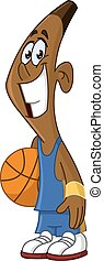 black basketball player holding ball