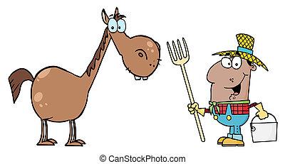 Happy Black Farmer By A Horse