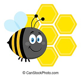 Happy Bumble Bee Cartoon Character Bee Flying In Front Of A Honeycombs