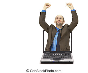 Happy businessman (with space for your text)