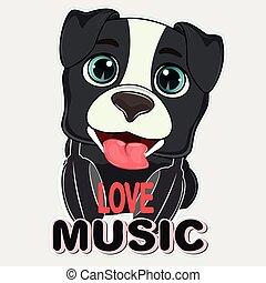 Happy cartoon dog love music. Vector illustration.