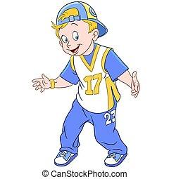 happy cartoon rapper boy