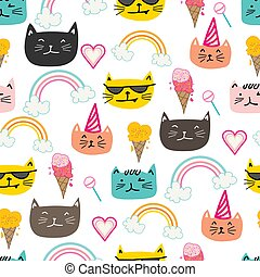 Happy cat seamless pattern background. Vector illustration.