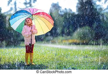 Happy Child With Rainbow Umbrella Under Rain