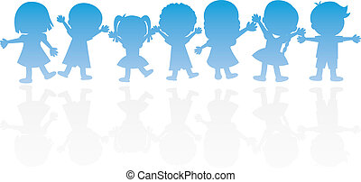 happy children silhouettes background