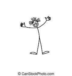 Happy clown stick figure man party vector