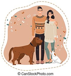 Happy couple with pets, owners of dog and cat, vector illustration