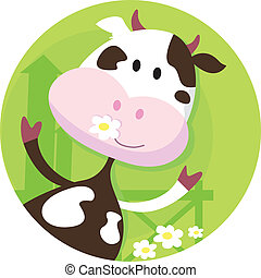 Vector illustration of funny cow on the meadow.