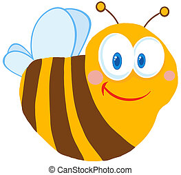 Happy Cute Bee Cartoon Character
