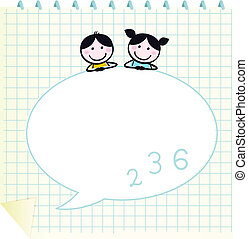 Happy cute Kids & Doodle notepad with Grid isolated on white