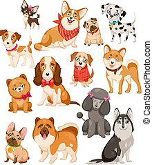 Happy dogs. Cute puppy pets and home funny animals cartoon isolated dog vector set