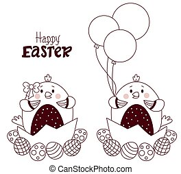 Happy Easter card. Couple of cute Easter chicks - boy and girl with Easter eggs and balloons. Vector. Sketched Easter. Line, outline. For design, decor, print, holiday cards, banners