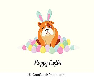 Happy Easter card, dog wearing bunny costume surrounded by Easter eggs