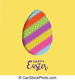 Happy Easter card with lettering, cut out Easter egg