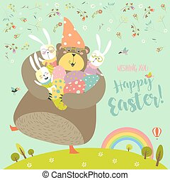 Happy Easter greeting vector illustration