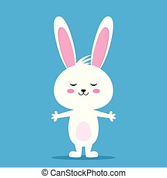 Happy Easter rabbit, white cute Bunny
