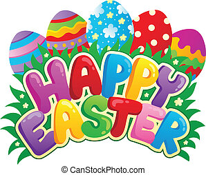 Happy Easter sign theme image 3 - vector illustration.