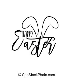 Happy Easter - text with cute bunny ears