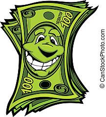 Cartoon Money Hundred Dollar Bills with Smiling Face Vector Cartoon Image