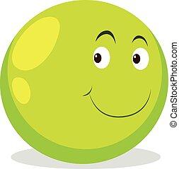 Happy face on round ball illustration
