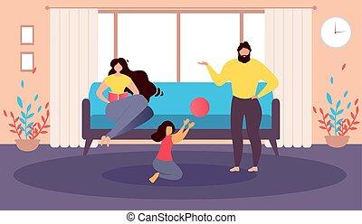 Happy Family at Home Cartoon Vector Illustration