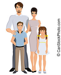 Happy family father mother daughter and son full length portrait vector illustration