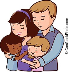 Vector Illustration of a happy couple holding their adopted children.