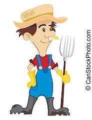 Cartoon farmer with a pitchfork on white