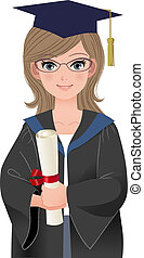 Happy female graduate in academic dress holding diploma. File contains Gradients, Blending tool and Transparency.