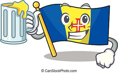 Happy flag madeira holding a glass with juice