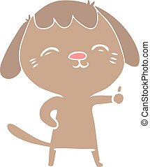 happy flat color style cartoon dog giving thumbs up sign